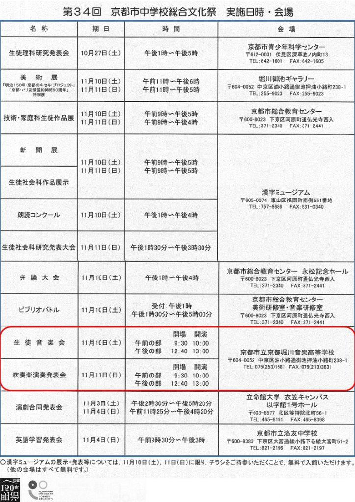 京都市中学校総合文化祭 ポスター裏面画像